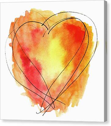 Canvas Print featuring the photograph Red Orange Yellow Watercolor And Ink Heart by Carol Leigh