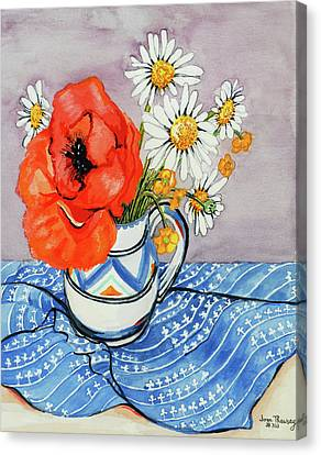Red Oriental Poppy And Marguerites In A Honiton Jug Canvas Print by Joan Thewsey