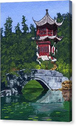Canvas Print featuring the painting Red Pagoda by Lynne Reichhart