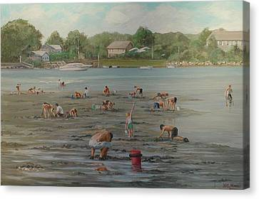 Clam Diggers Ri Shore Canvas Print
