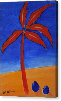 Canvas Print featuring the greeting card Red Palm by Karin Eisermann