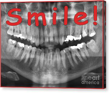 Red Panoramic Dental X-ray With A Smile  Canvas Print by Ilan Rosen
