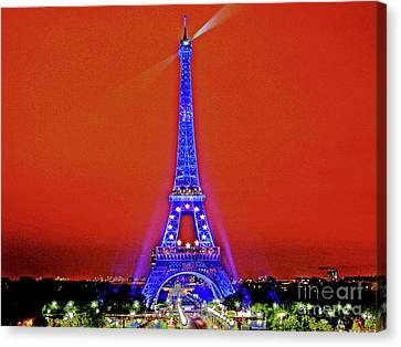 Red Paris Sunset  Eiffel Tower Canvas Print