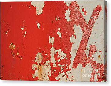 Red Peeling Metal Grunge Background Canvas Print by Simon Bratt Photography LRPS