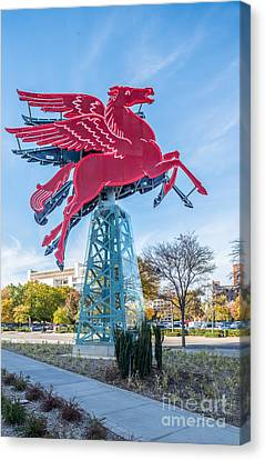 Red Pegasus Of Dallas Canvas Print by Tod and Cynthia Grubbs
