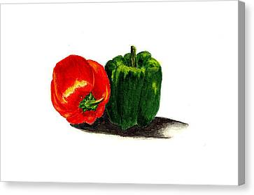 Red Pepper And Green Pepper Canvas Print by Michael Vigliotti