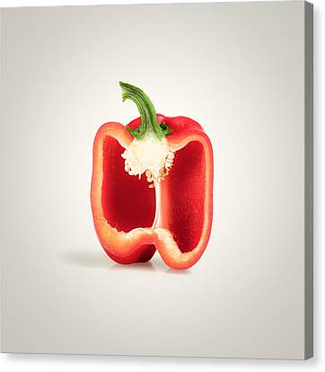 Red Pepper Cross-section Canvas Print by Johan Swanepoel