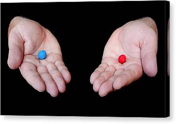 Red Pill Blue Pill Canvas Print by Semmick Photo
