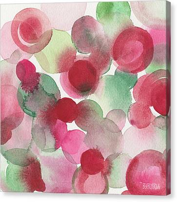 Red Pink Green Abstract Watercolor Canvas Print by Beverly Brown