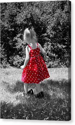 Red Polka Dot Dress And Mommy's Shoes Canvas Print