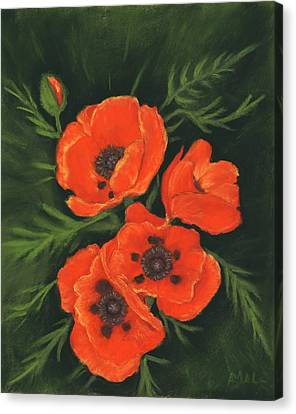 Canvas Print featuring the painting Red Poppies by Anastasiya Malakhova