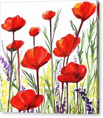 Canvas Print featuring the painting Red Poppies Art By Irina Sztukowski by Irina Sztukowski