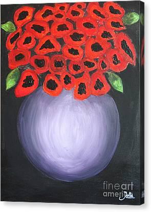Canvas Print featuring the painting Red Poppies  by Jolanta Anna Karolska