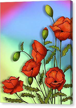 Red Poppies On Multi-colored Background Canvas Print by Joyce Geleynse