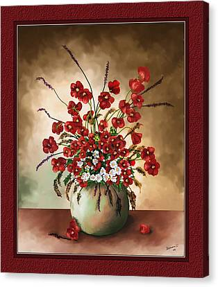 Canvas Print featuring the digital art Red Poppies by Susan Kinney