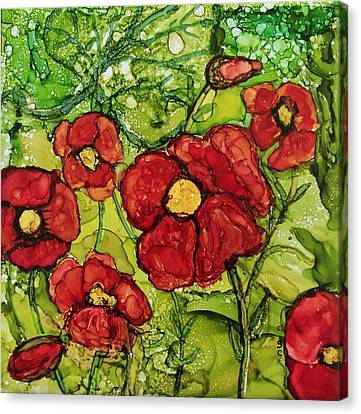 Canvas Print featuring the painting Red Poppies by Suzanne Canner