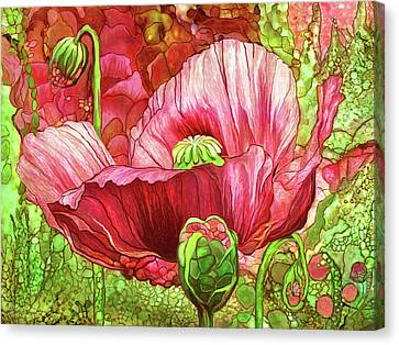 Canvas Print featuring the mixed media Red Poppy Garden by Carol Cavalaris