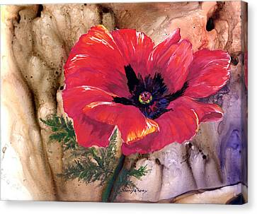 Canvas Print featuring the painting Red Poppy by Sherry Shipley