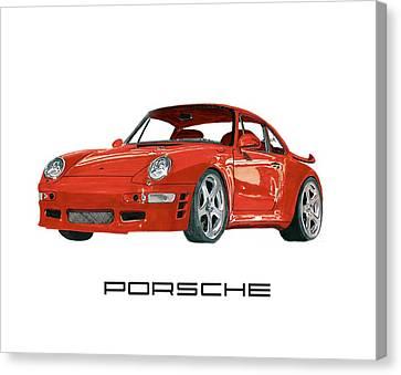 Considering Canvas Print - Red Porsche 993 1997 Twin Turbo R by Jack Pumphrey
