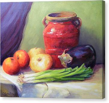 Red Pot In Still Life Canvas Print