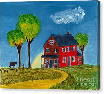 Canvas Print featuring the painting Red Praire House by Gail Finn