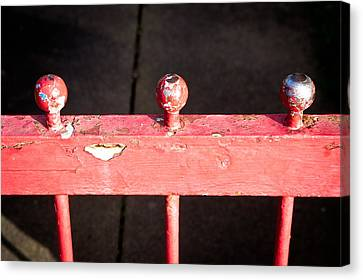 Wooden Platform Canvas Print - Red Railing by Tom Gowanlock