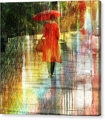 Canvas Print featuring the photograph Red Rain Day by LemonArt Photography