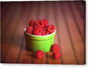 Red Raspberries Still Life Canvas Print by Tom Mc Nemar