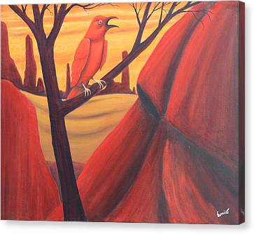 Red Raven Canvas Print by Art Enrico