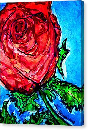 Canvas Print featuring the painting Red Red Rose by Laura  Grisham