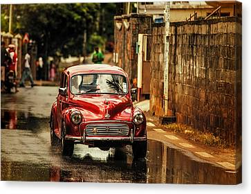 Red Retromobile. Morris Minor Canvas Print by Jenny Rainbow