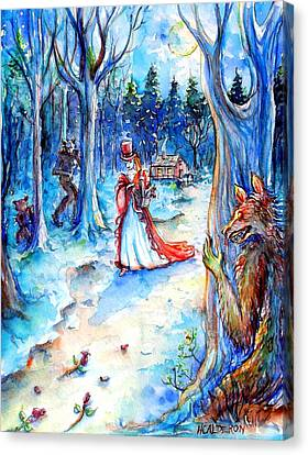 Canvas Print featuring the painting Red Riding Hood And Werewolves by Heather Calderon