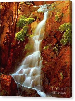 Canvas Print featuring the painting Red River Falls by Peter Piatt