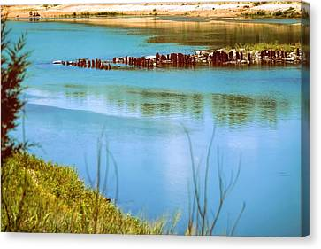 Canvas Print featuring the photograph Red River Crossing Old Bridge by Diana Mary Sharpton