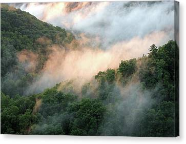 River Canvas Print - Red River Gorge Kentucky Fog In Mountains At Sunset After A Storm by Design Turnpike