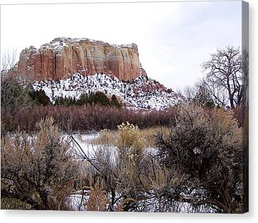 Red Rock Butte In Snow Canvas Print
