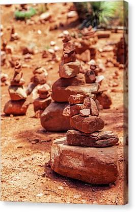 Red Rock Piles Marking Vortex In Sedona Canvas Print by Susan Schmitz