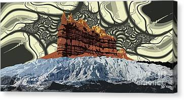 Red Rock White Ice Canvas Print by Ron Bissett