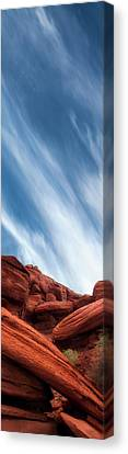 Red Rocks Along The Colorado Canvas Print by Gary Warnimont