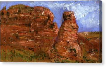 Canvas Print featuring the painting Red Rocks by Marilyn Barton