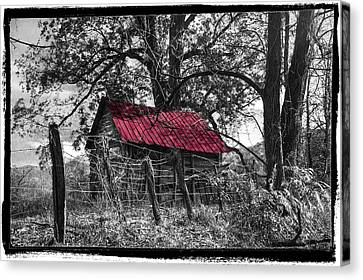 Red Roof Black And White Canvas Print