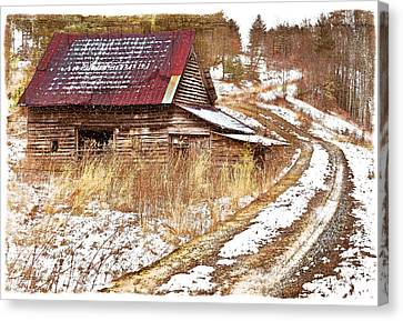 Smokey Mountains Canvas Print - Red Roof In The Snow Bordered by Debra and Dave Vanderlaan