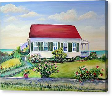 Canvas Print featuring the painting Red Roof Inn by Patricia Piffath