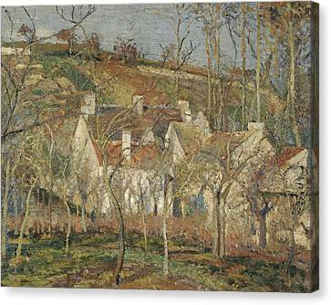 Red Roofs, Corner Of A Village, Winter Canvas Print by Camille Pissarro