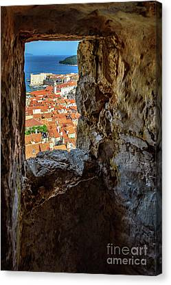 Red Roofs Of Dubrovnik, Kings Landing In Game Of Thrones, Through The City Walls, Dubrovnik, Croatia Canvas Print by Global Light Photography - Nicole Leffer