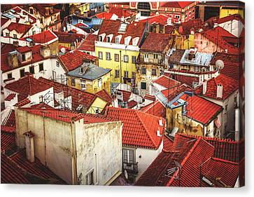 Red Rooftops Of Old Alfama Lisbon  Canvas Print