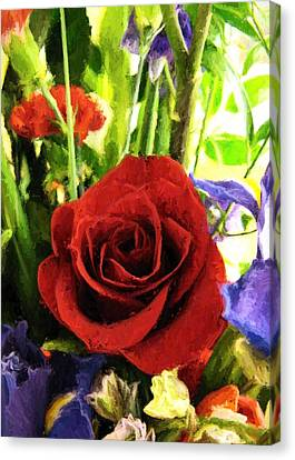 Red Rose And Flowers Canvas Print