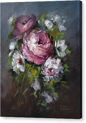 Red Rose And White Peony Canvas Print by David Jansen