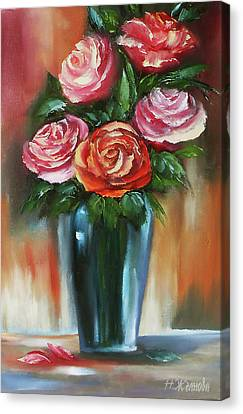Red Rose Painting Oil On Canvas, Rose Painting Flower, Rose Flower Vase Painting Canvas Print