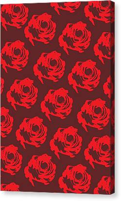 Pattern Canvas Print - Red Rose Pattern by Cortney Herron